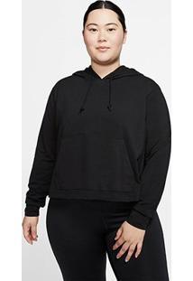 Camisa Nike Yoga Jersey Cropped Plus Size Manga Longa Feminina - Feminino-Preto+Cinza