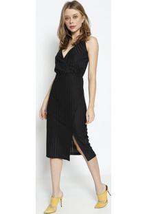 Vestido MãDi Listrado- Preto- Colccicolcci