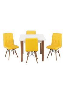 Conjunto Mesa De Jantar Luiza 80Cm Branca Com 4 Cadeiras Gomos - Amarelo
