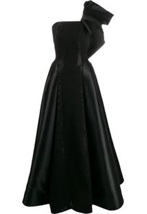 Avaro Figlio Pearl-Embellished Bustier Gown - Preto