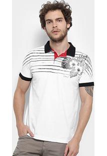 Camisa Polo Jimmy'Z Silk Hawaii Masculina - Masculino-Branco