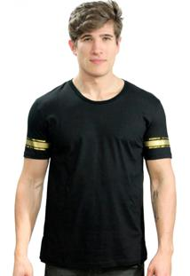 Camiseta Klauk Filete Dourado Preto