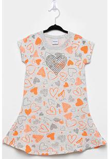 Vestido Moletom Rovitex Corações - Feminino-Cinza