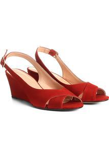 Sandália Anabela Couro Shoestock Nobuck Feminina - Feminino-Laranja Escuro