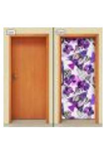 Adesivo Decorativo De Porta - Flores - 1318Cnpt