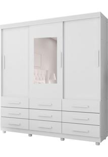 Guarda-Roupa Casal Com Espelho Ascoli 3 Pt 9 Gv Branco