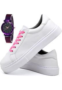 Tênis Sapatênis Casual Fashion Com Relógio Luxury Feminino Dubuy 311El Branco - Kanui