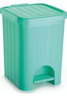 Lixeira Para Banheiro De Plã¡Stico 12 Litros Com Pedal Verde - Transparente - Dafiti