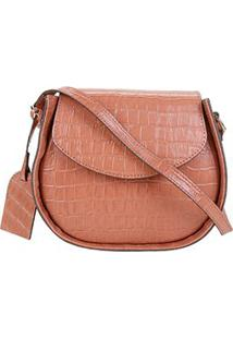 Bolsa Couro Shoestock Croco Round Bag Feminina - Feminino-Caramelo