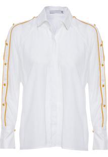 Camisa Feminina Ombro Vazado Com Botões - Branco