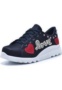 Tênis Flor Da Pele Love Heart Preto