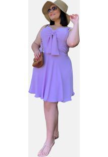 Vestido Curto Social Verão Tnm Collection Plus Size Casual Festa Lilás