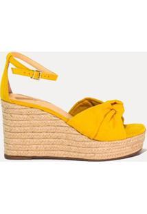 Sandália Plataforma Camurça Com Fivela Marjorie Amarelo