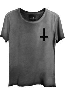 Camiseta Estonada Skull Lab Cruz Invertida Grafite