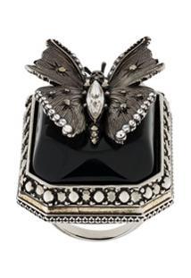 Alexander Mcqueen Butterfly Engraved Ring - Prateado
