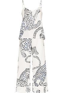 Desmond & Dempsey Conjunto De Pijama Com Estampa De Jaguar - Branco