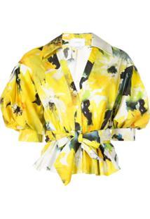 Marchesa Blusa Com Estampa Floral - Amarelo