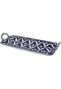 Bandeja Retangular Decorativa Btc Em Cerâmica Com Hastes Em Metal 8 X 38 X 15 Cm - Azul/Branco