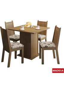Kit Kate Floral Hibiscos Tampo De Madeira 4 Cadeiras Madesa