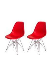 Kit 2 Cadeiras Eiffel Eames Vermelha Base Cromada Sala Cozinha Jantar