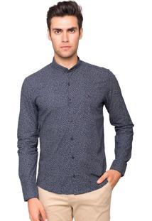 Camisa Slim Fit Tony Menswear Gola De Padre Estampada Azul-Marinho