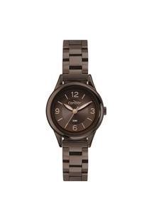 Relógio Analógico Condor Feminino + Brinco + Colar - Co2035Myck7M Marrom