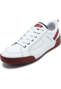 Sapatênis Couro Couro Calvin Klein Bicolor Branco/Vermelho