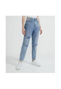 Calça Mom Jeans Com Recorte Vazado Na Lateral