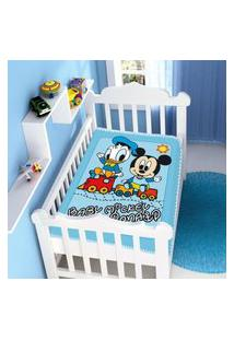 Cobertor Menino Jolitex Disney Baby Mickey E Donald Azul