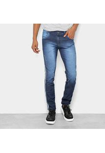 Calça Jeans Skinny Coffee Estonada Puídos Listras Laterais Masculina - Masculino-Jeans