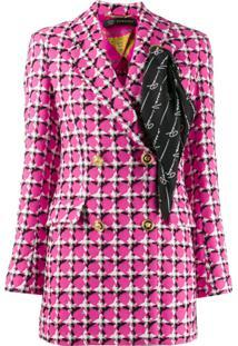 Versace Blazer Xadrez Com Detalhe De Lenço - Rosa