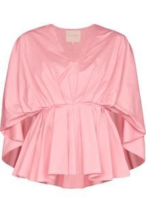 Roksanda Blusa Decote Em V Com Peplum - Rosa