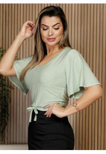 Blusa Listra Verde Com Amarração Moda Evangélica