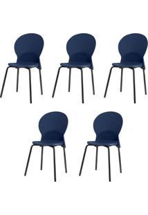 Kit 5 Cadeiras Luna Assento Azul Base Preta - 57694 - Sun House