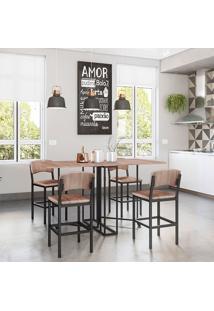 Conjunto De Mesa Retangular Para Sala De Jantar Com 4 Banquetas -Brastubo - Carvalho / Preto
