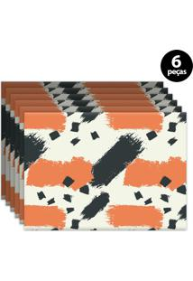 Jogo Americano Mdecore Abstrato 40X28Cm Bege 6Pçs