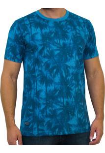 Camiseta Kevingston Price Fullprint Manga Curta Azul Palmeiras