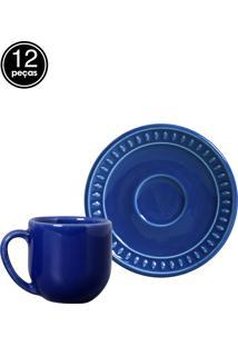 Jogo De Xícaras De Café 12 Pçs Sevilha Azul Navy Porto Brasil