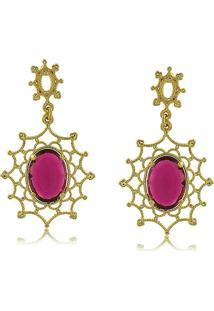 Brinco Teia Com Cristal Pink 3Rs Semijoias Dourado