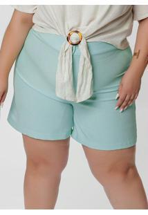 Short Plus Size Azul Com Cintura Alta E Bolsos