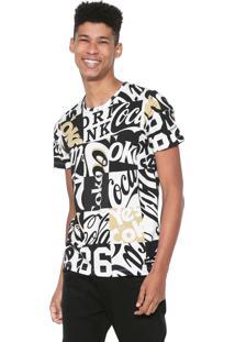 Camiseta Coca-Cola Jeans Estampada Branca/Preta