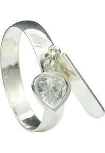 Anel De Plaquinha E Coração Florenzza Em Prata 950 Feminino - Feminino-Prata