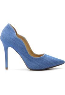 Scarpin Curvas Salto Fino - Feminino-Jeans
