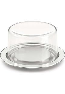 Prato Para Bolo/Queijo Em Inox 13Cm - Forma Inox Inox/Transparente