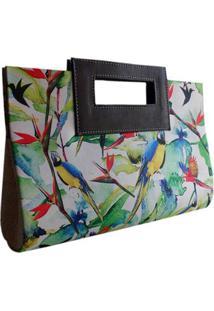 Bolsa Artestore Carteira De Mão Em Palha De Buriti E Estampa Pássaros Araras - Feminino-Branco+Verde