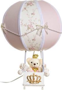 Abajur Balãozinho Ursinha Princesa Bebê Infantil Potinho De Mel Rosa