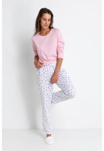 Pijama Longo Meia Malha De Algodão Love Liberty Acuo - Feminino-Branco