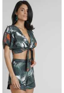 Blusa Feminina Cropped Água De Coco Estampada Palmeira Com Nó Manga Curta Decote V Verde Escuro