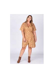 Vestido Curto Almaria Plus Size Rery Transpassado Amarelo