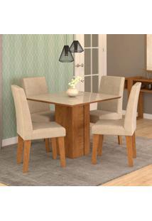 Conjunto De Mesa De Jantar Quadrada Rafaela Com 4 Cadeiras Milena Suede Bege E Off White